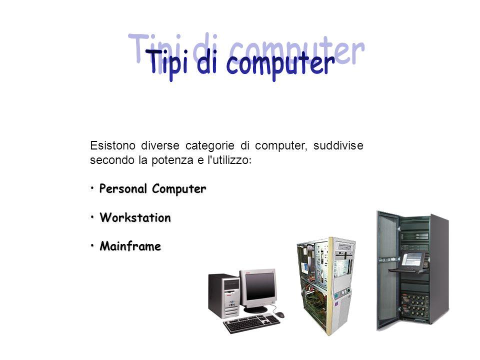 Tipi di computer Esistono diverse categorie di computer, suddivise secondo la potenza e l utilizzo: