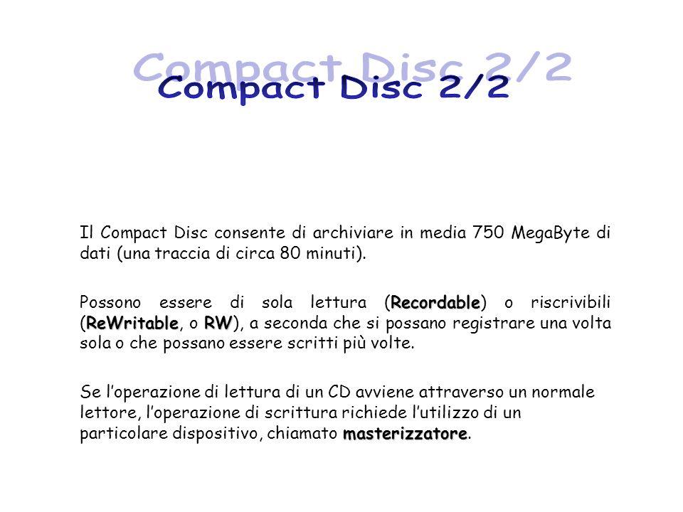 Compact Disc 2/2 Il Compact Disc consente di archiviare in media 750 MegaByte di dati (una traccia di circa 80 minuti).