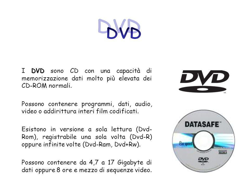 DVD I DVD sono CD con una capacità di memorizzazione dati molto più elevata dei CD-ROM normali.