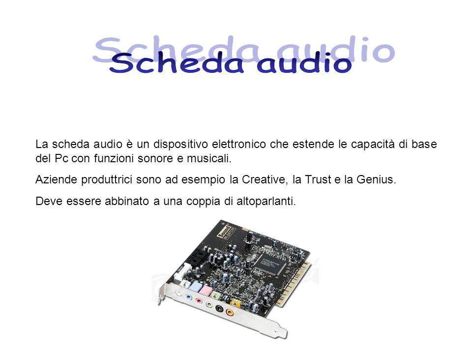 Scheda audio La scheda audio è un dispositivo elettronico che estende le capacità di base del Pc con funzioni sonore e musicali.
