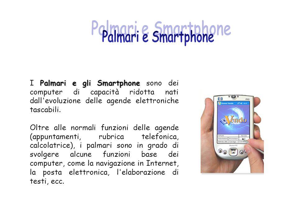 Palmari e Smartphone I Palmari e gli Smartphone sono dei computer di capacità ridotta nati dall evoluzione delle agende elettroniche tascabili.