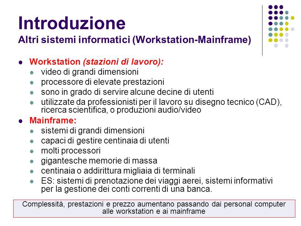 Introduzione Altri sistemi informatici (Workstation-Mainframe)