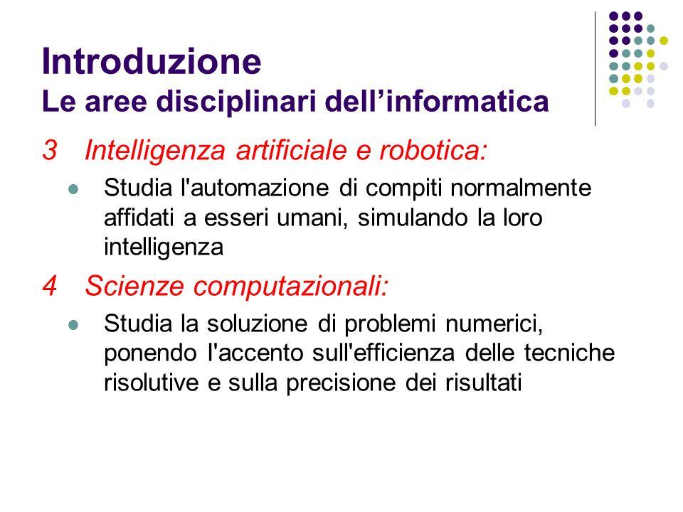 Introduzione Le aree disciplinari dell'informatica