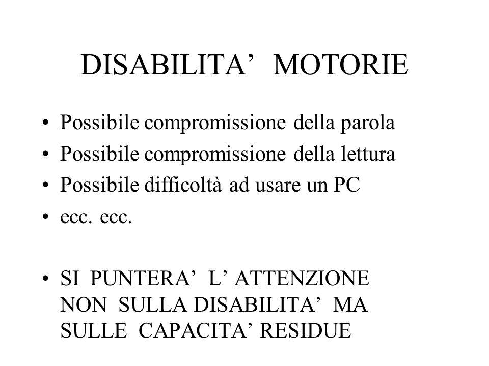 DISABILITA' MOTORIE Possibile compromissione della parola