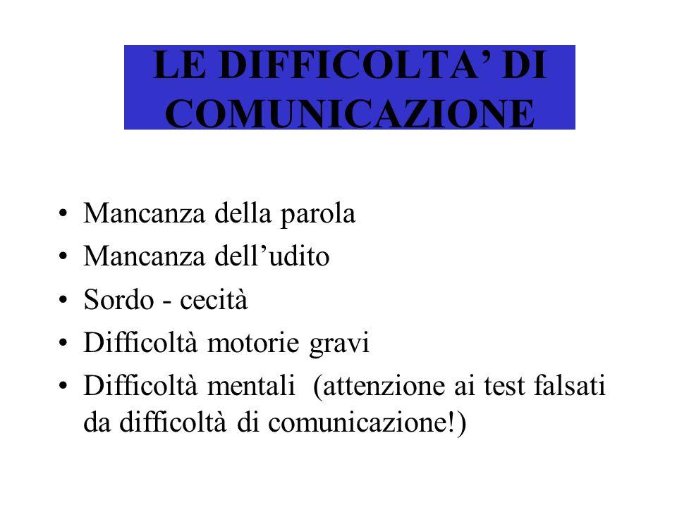 LE DIFFICOLTA' DI COMUNICAZIONE