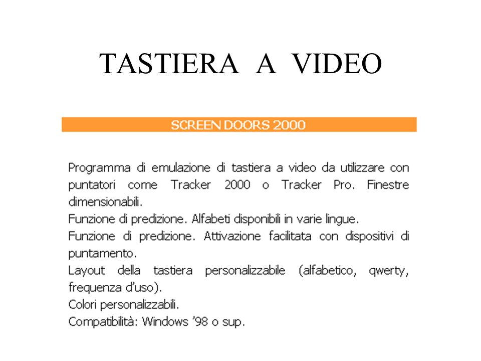 TASTIERA A VIDEO