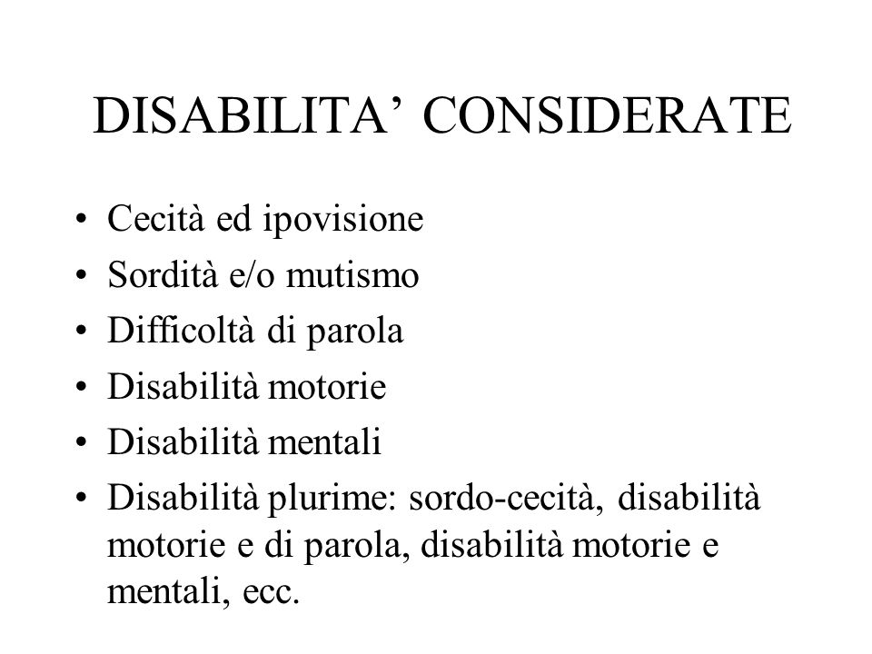 DISABILITA' CONSIDERATE