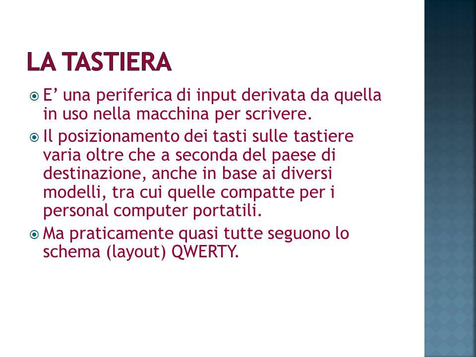 LA TASTIERA E' una periferica di input derivata da quella in uso nella macchina per scrivere.
