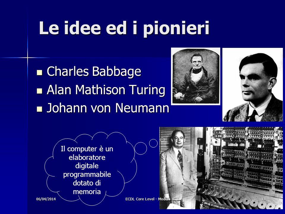 Le idee ed i pionieri Charles Babbage Alan Mathison Turing