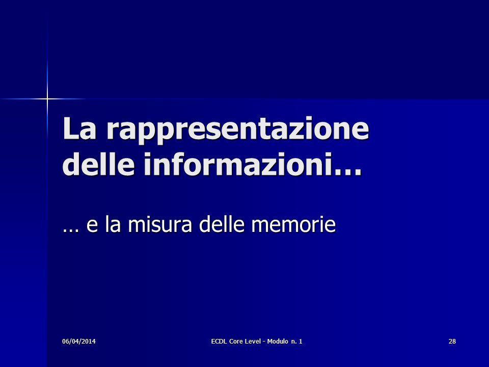 La rappresentazione delle informazioni…