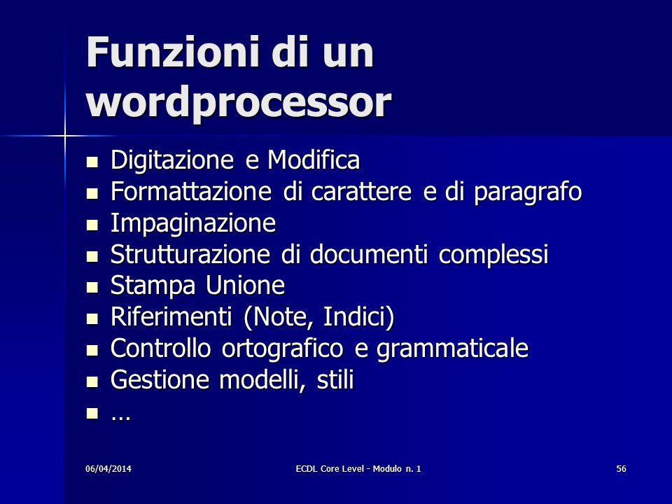 Funzioni di un wordprocessor