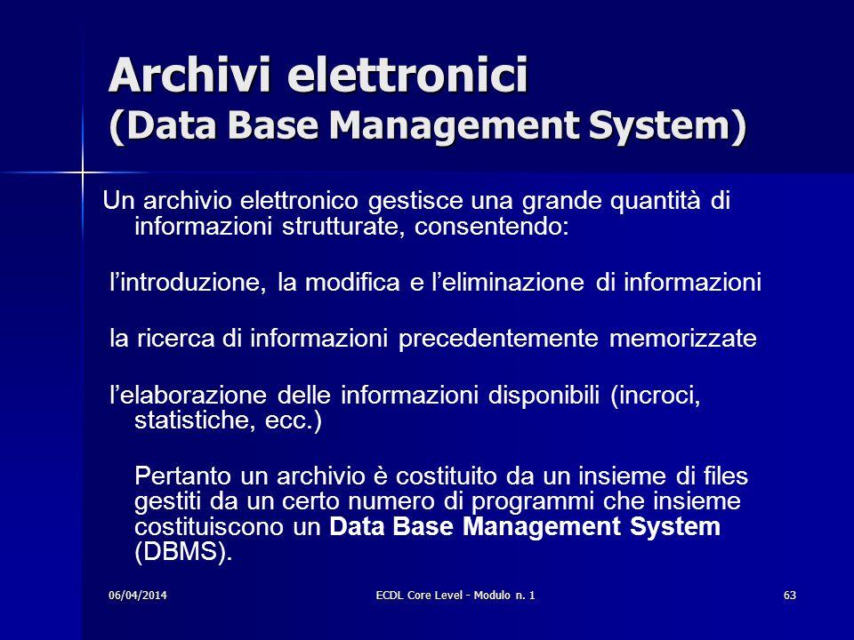 Archivi elettronici (Data Base Management System)