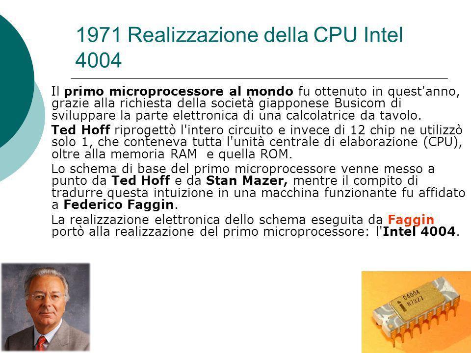 1971 Realizzazione della CPU Intel 4004