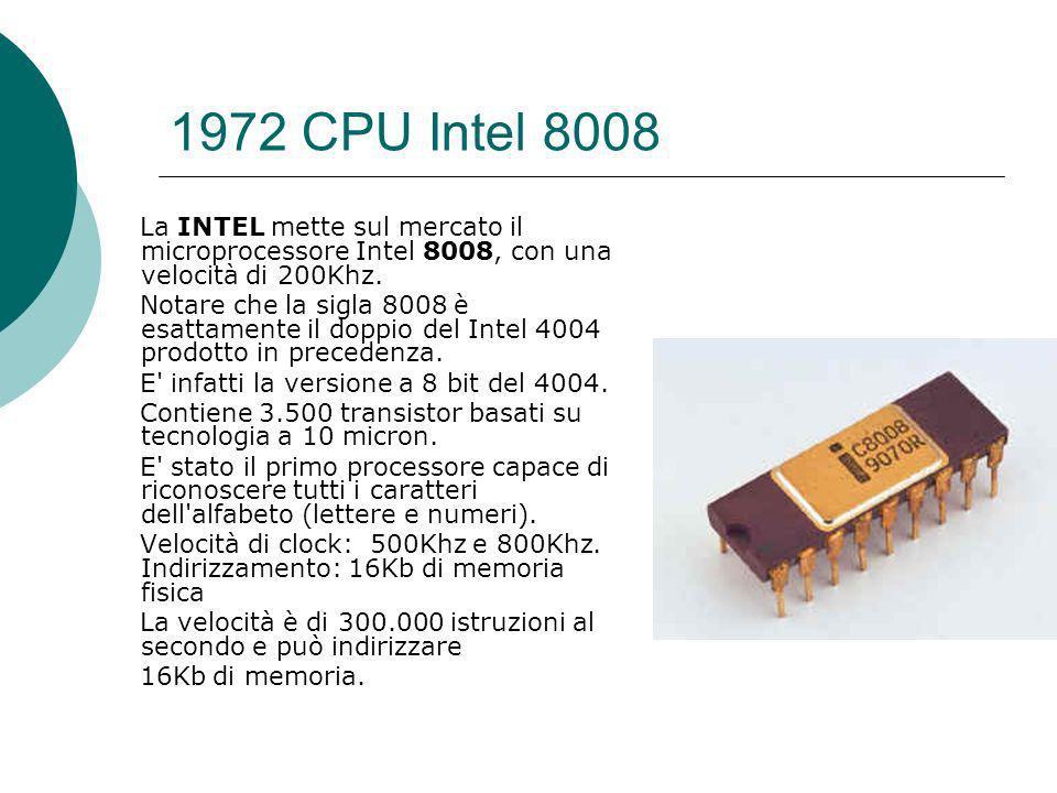 1972 CPU Intel 8008 La INTEL mette sul mercato il microprocessore Intel 8008, con una velocità di 200Khz.