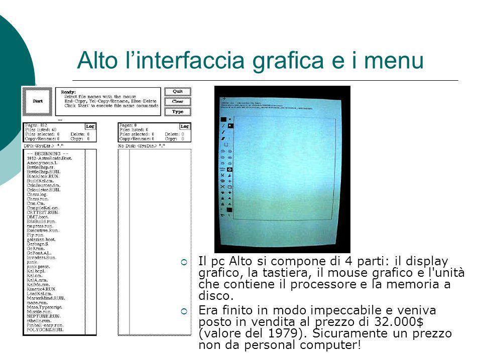 Alto l'interfaccia grafica e i menu