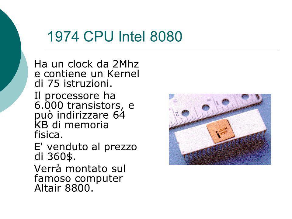 1974 CPU Intel 8080 Ha un clock da 2Mhz e contiene un Kernel di 75 istruzioni.