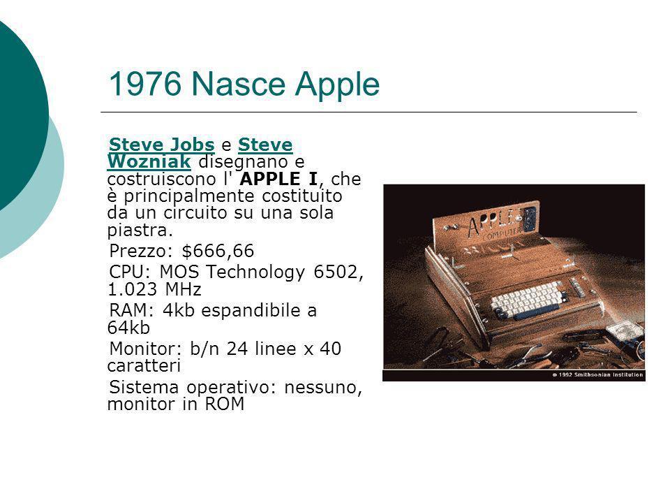 1976 Nasce Apple Steve Jobs e Steve Wozniak disegnano e costruiscono l APPLE I, che è principalmente costituito da un circuito su una sola piastra.