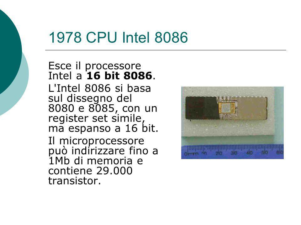 1978 CPU Intel 8086 Esce il processore Intel a 16 bit 8086.
