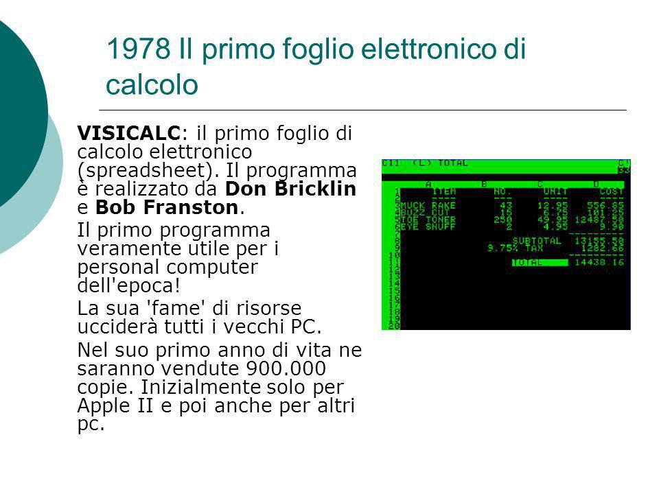 1978 Il primo foglio elettronico di calcolo