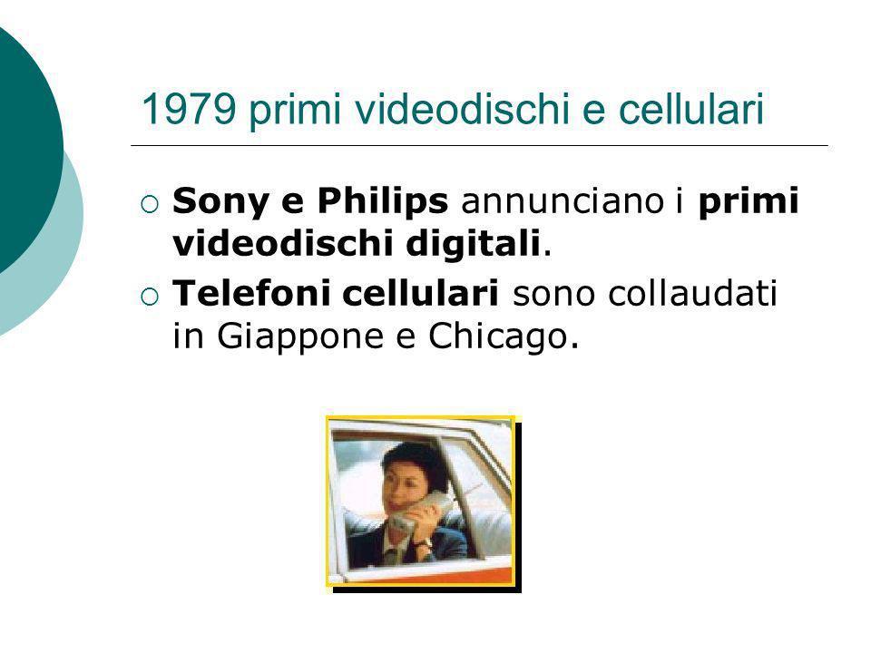 1979 primi videodischi e cellulari