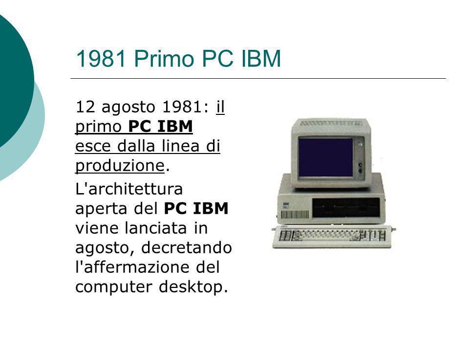 1981 Primo PC IBM 12 agosto 1981: il primo PC IBM esce dalla linea di produzione.