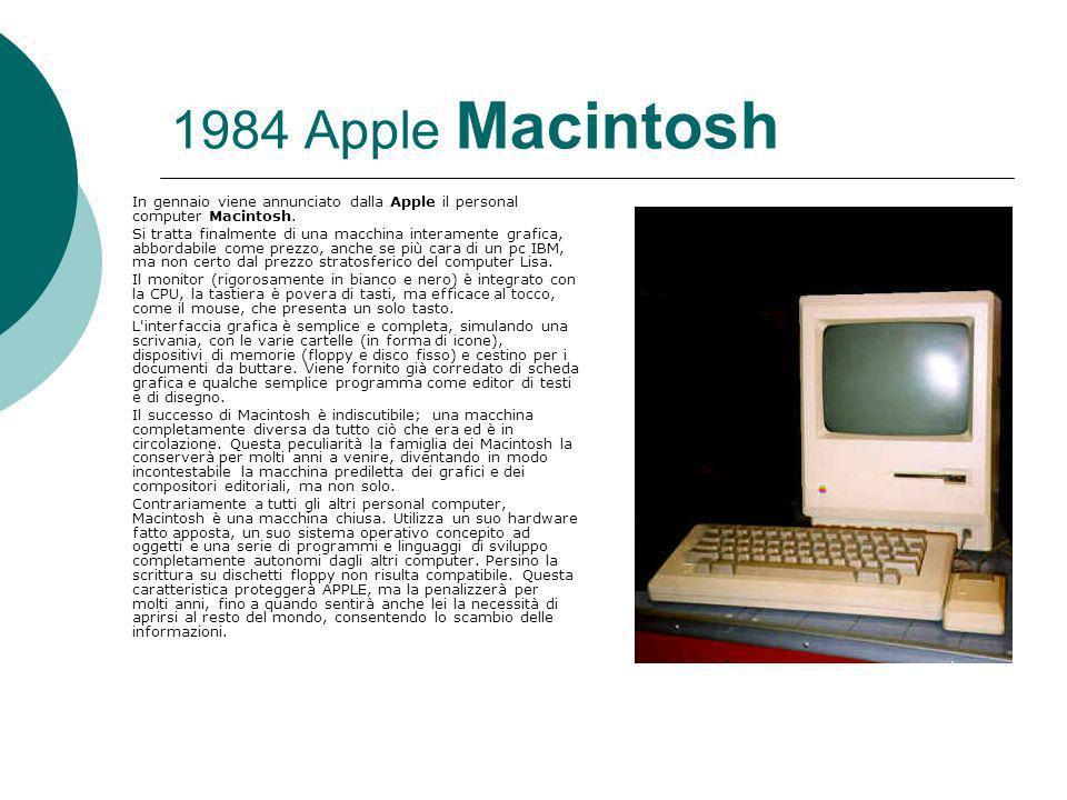1984 Apple Macintosh In gennaio viene annunciato dalla Apple il personal computer Macintosh.