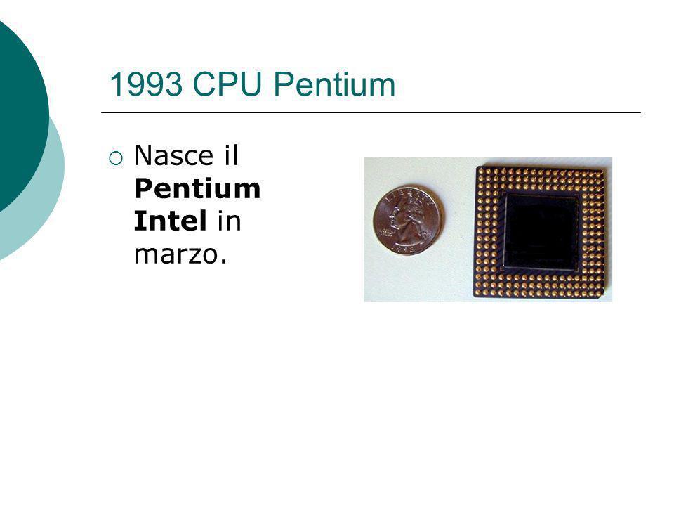 1993 CPU Pentium Nasce il Pentium Intel in marzo.