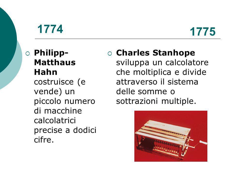 1774 1775. Philipp-Matthaus Hahn costruisce (e vende) un piccolo numero di macchine calcolatrici precise a dodici cifre.