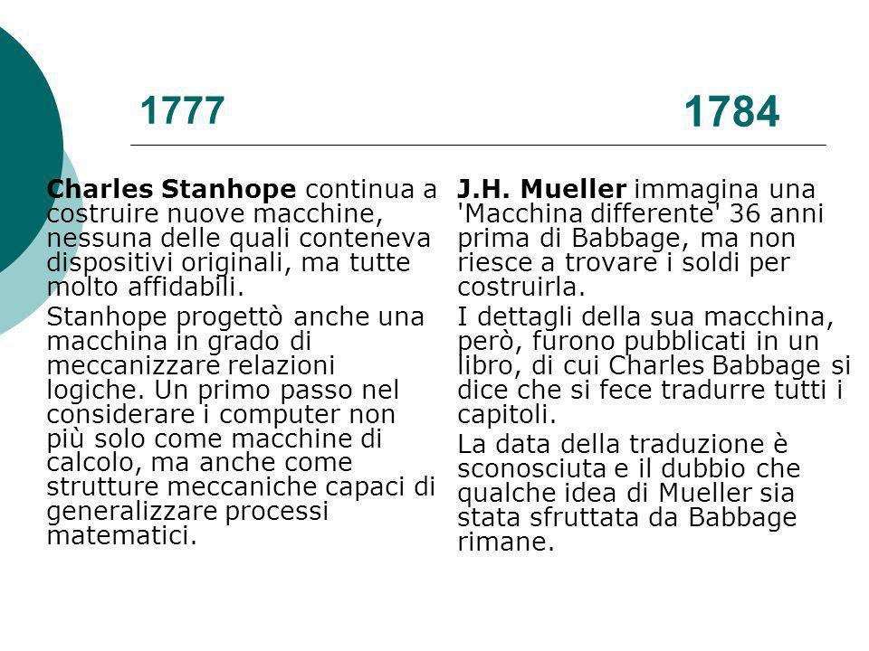 1777 1784. Charles Stanhope continua a costruire nuove macchine, nessuna delle quali conteneva dispositivi originali, ma tutte molto affidabili.