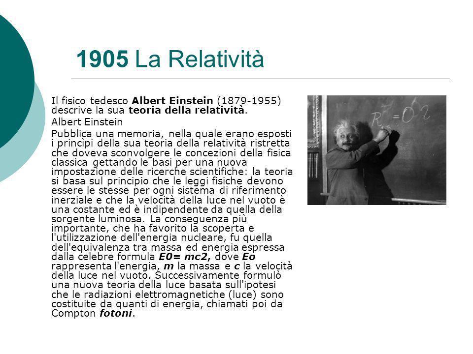 1905 La Relatività Il fisico tedesco Albert Einstein (1879-1955) descrive la sua teoria della relatività.