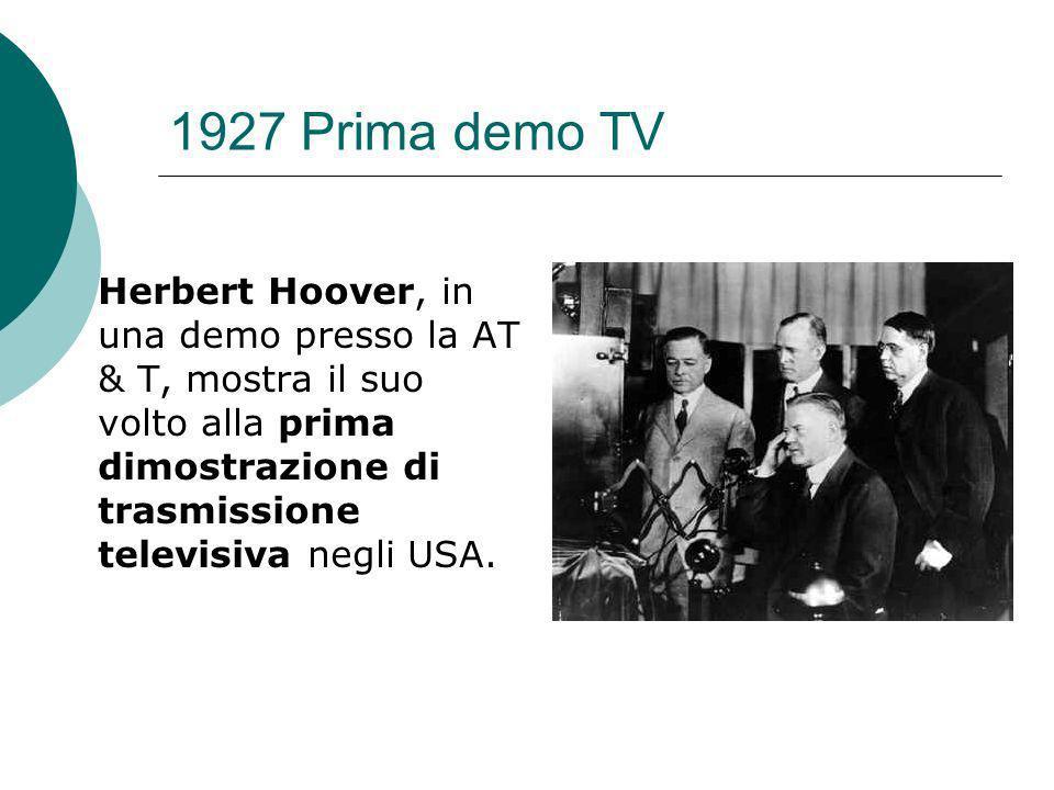 1927 Prima demo TV Herbert Hoover, in una demo presso la AT & T, mostra il suo volto alla prima dimostrazione di trasmissione televisiva negli USA.