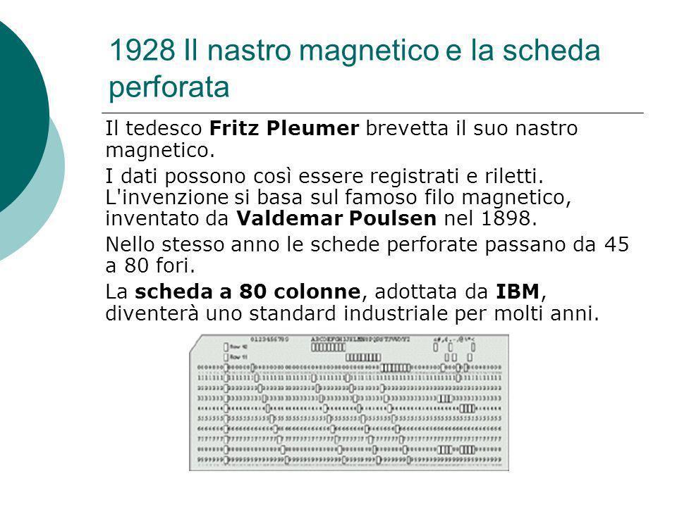 1928 Il nastro magnetico e la scheda perforata