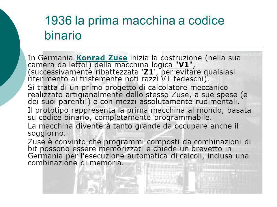 1936 la prima macchina a codice binario