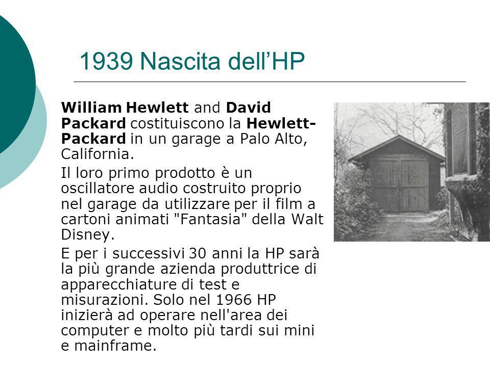 1939 Nascita dell'HP William Hewlett and David Packard costituiscono la Hewlett-Packard in un garage a Palo Alto, California.