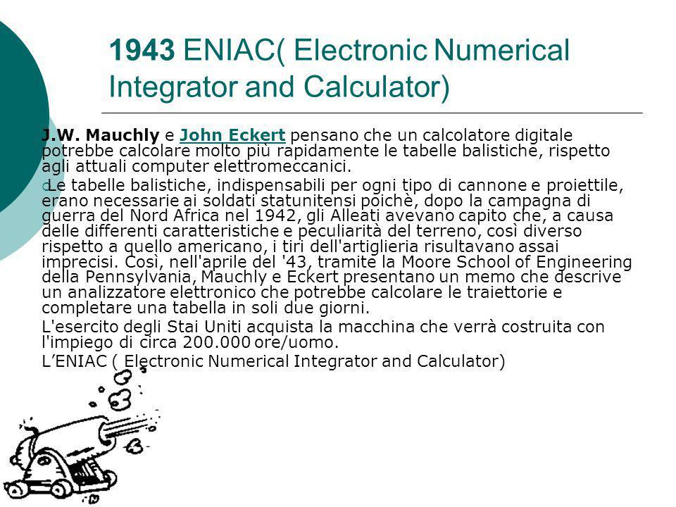 1943 ENIAC( Electronic Numerical Integrator and Calculator)