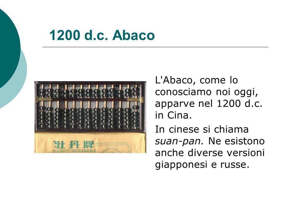 1200 d.c. Abaco L Abaco, come lo conosciamo noi oggi, apparve nel 1200 d.c. in Cina.