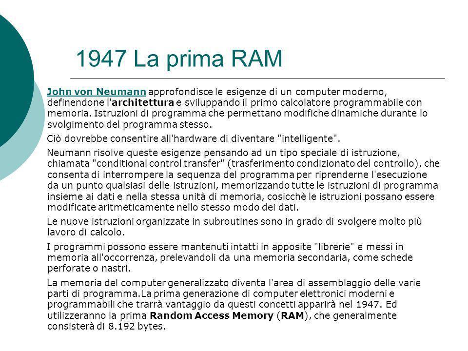 1947 La prima RAM