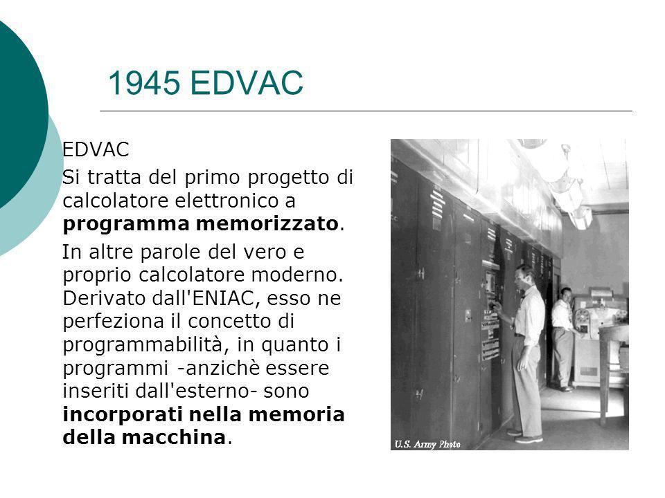 1945 EDVAC EDVAC. Si tratta del primo progetto di calcolatore elettronico a programma memorizzato.