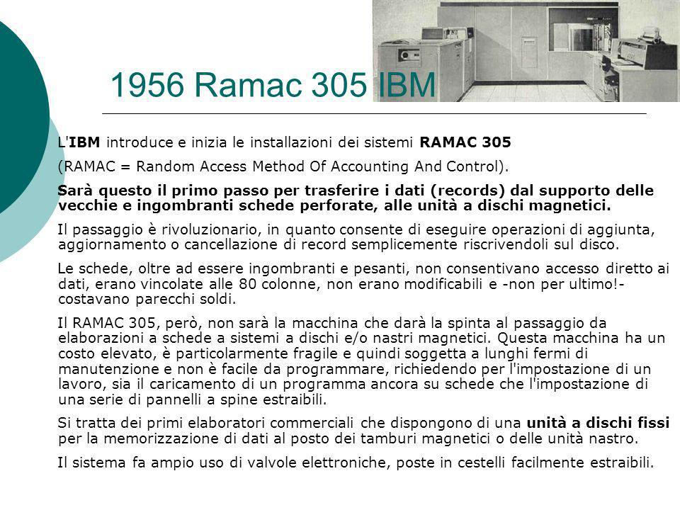 1956 Ramac 305 IBM L IBM introduce e inizia le installazioni dei sistemi RAMAC 305 (RAMAC = Random Access Method Of Accounting And Control).