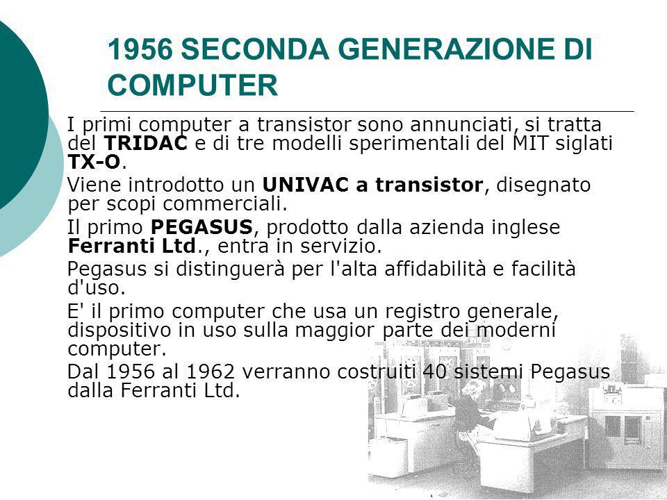 1956 SECONDA GENERAZIONE DI COMPUTER