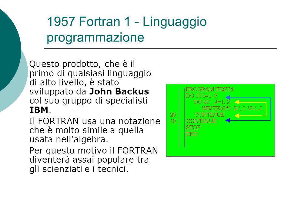 1957 Fortran 1 - Linguaggio programmazione
