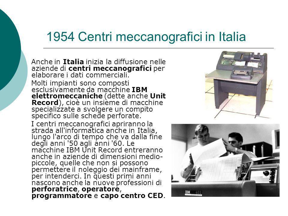 1954 Centri meccanografici in Italia