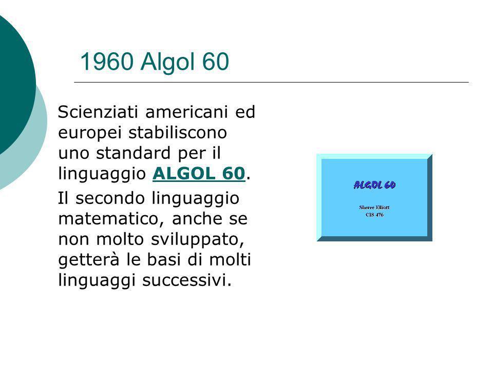 1960 Algol 60 Scienziati americani ed europei stabiliscono uno standard per il linguaggio ALGOL 60.