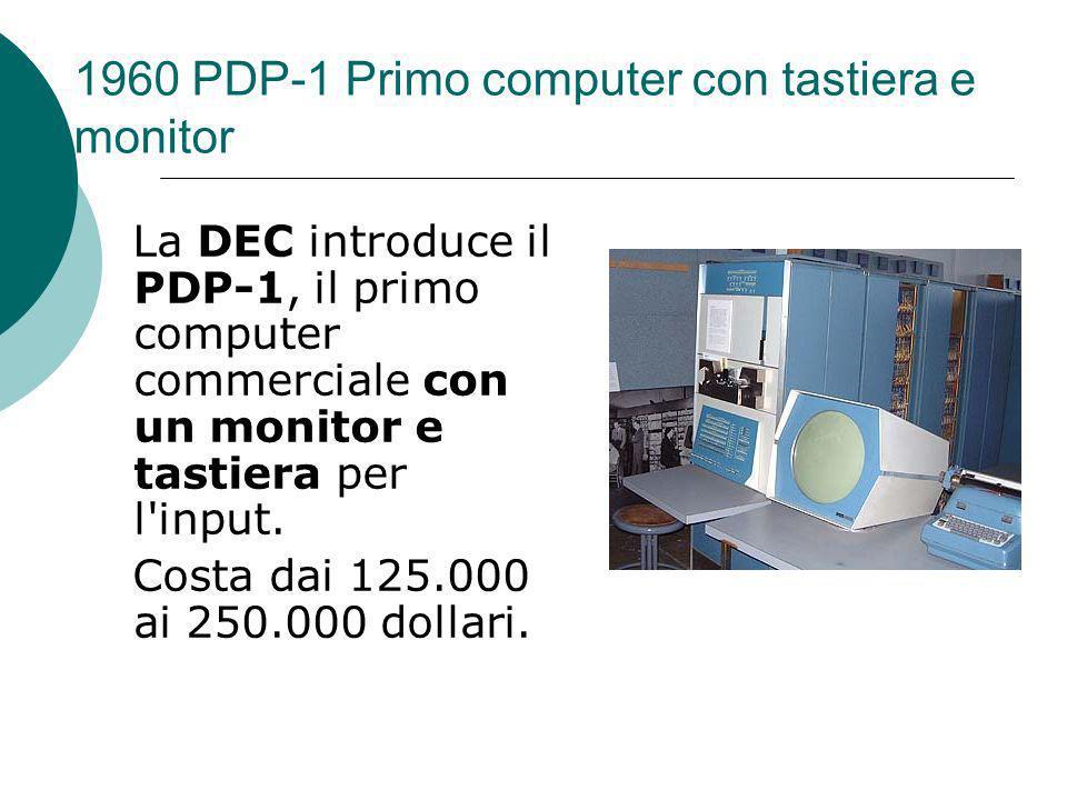 1960 PDP-1 Primo computer con tastiera e monitor