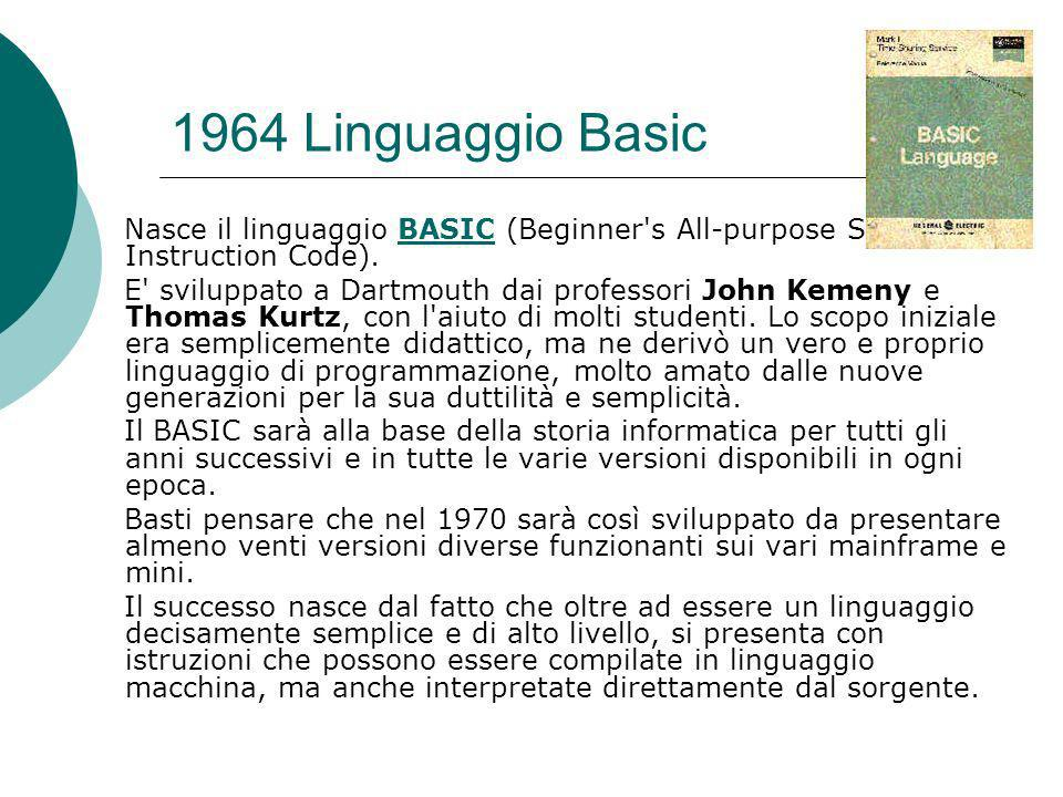 1964 Linguaggio Basic Nasce il linguaggio BASIC (Beginner s All-purpose Symbolic Instruction Code).