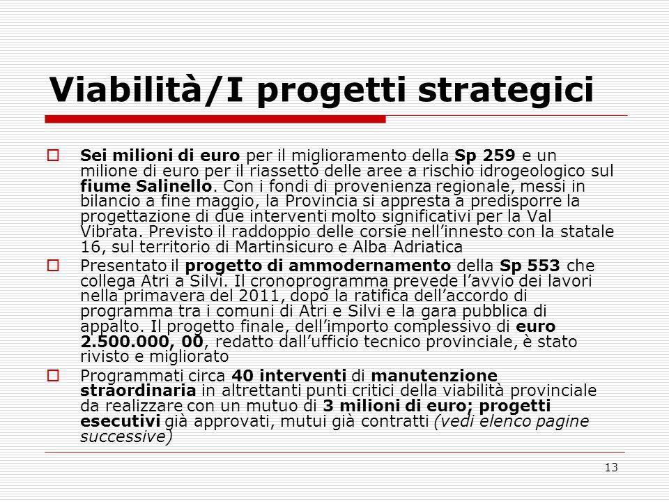 Viabilità/I progetti strategici