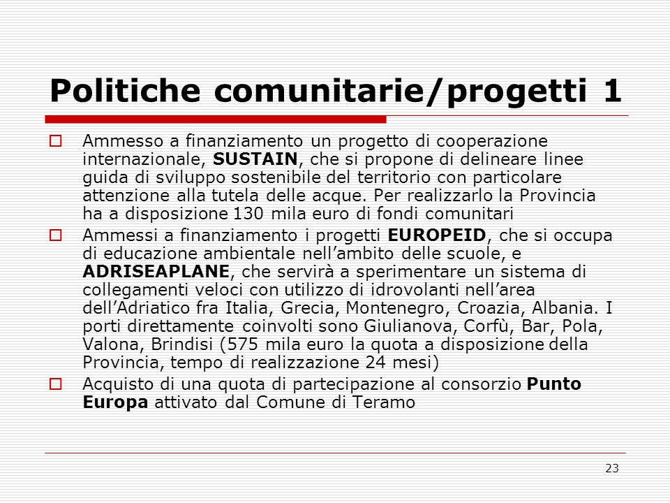 Politiche comunitarie/progetti 1
