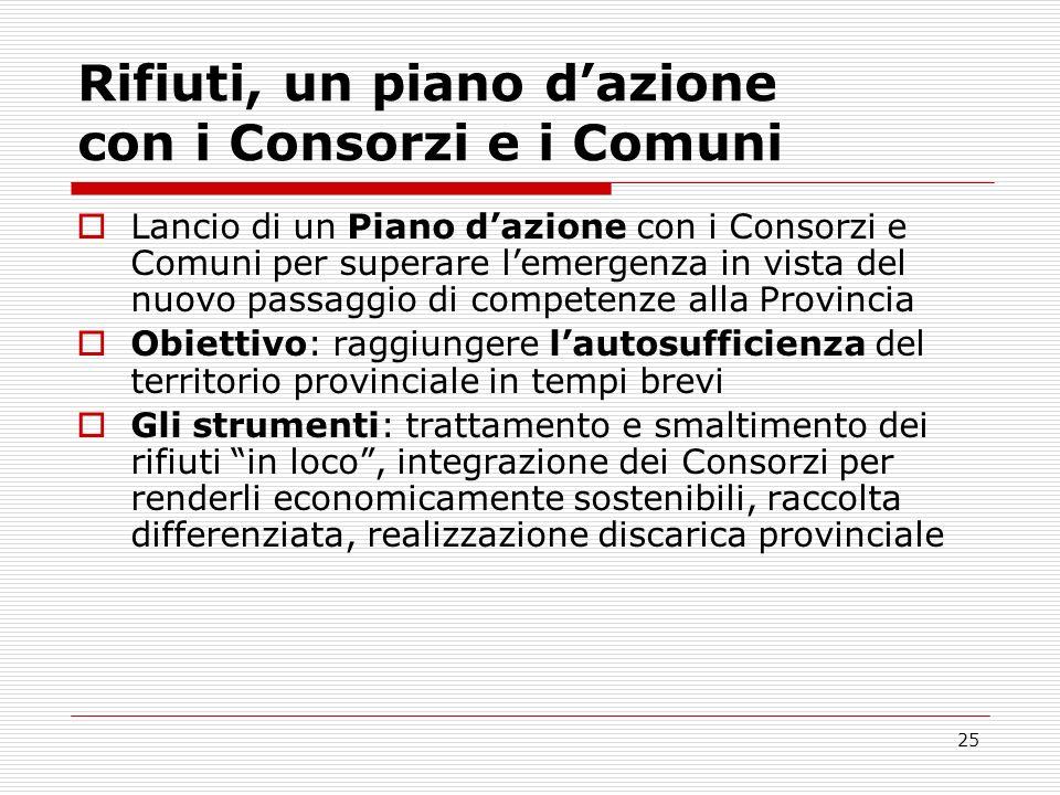 Rifiuti, un piano d'azione con i Consorzi e i Comuni