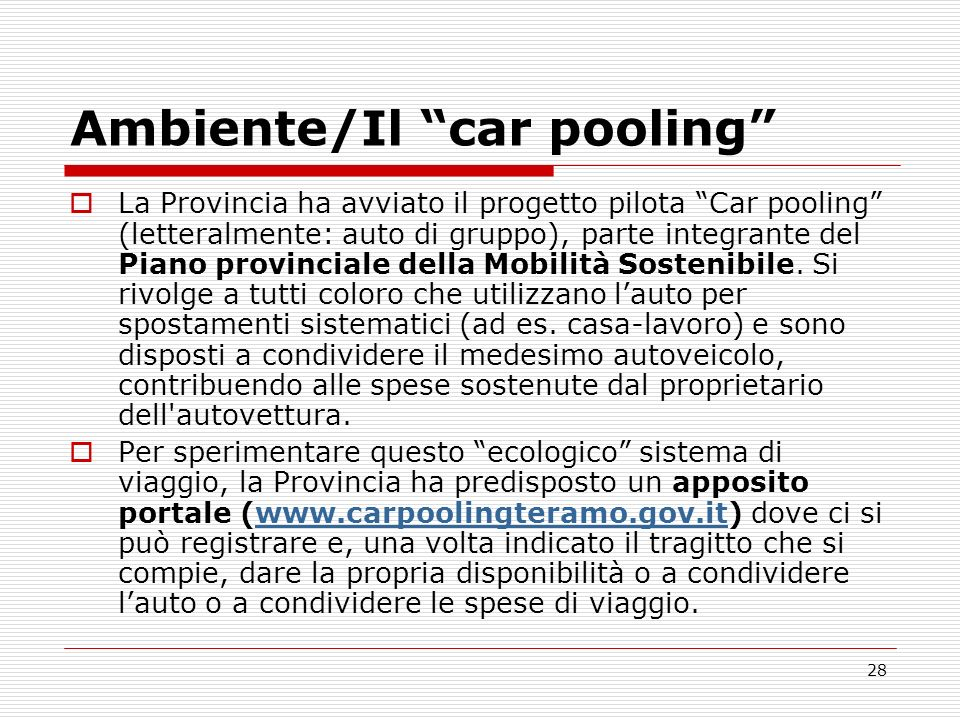 Ambiente/Il car pooling