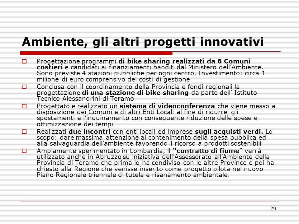 Ambiente, gli altri progetti innovativi